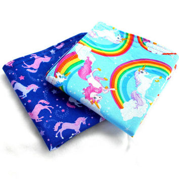 "Magical Unicorns Double Sided Lunch Cloth Napkins -Set of Purple Unicorn 8.5x8.5"" Napkins"