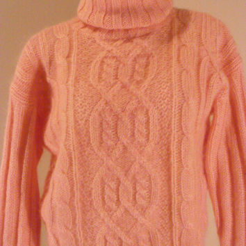 ON SALE 90s Peach Mohair Cropped Cable Knit Sweater Jumper