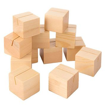 """12 Pack - Rustic Wood Block Place Card Holders - 1.5"""" Square"""