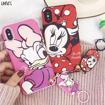 LIHNEL Cute mickey minnie mouse daisy duck Couple Shockproof TPU Back Shell Cover for iPhone X 6 Plus 6 6S 7 7Plus 8 8plus Case