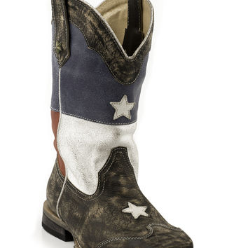 Roper Kids Boot Western Sq Toe Leather Fashion Boots American Flag W Sanded Leather Sq.toe