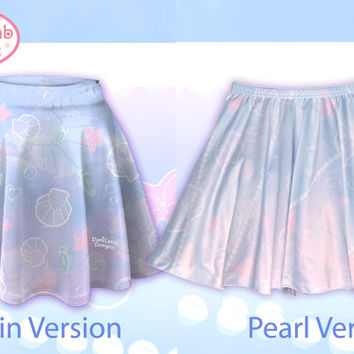 Kawaii Marine Ocean Mermaid Skirt Printed Skater Skirt Splash Dream Undersea Seashell Pastel Fairy Kei Size XS Through 3XL *Made 2 Order*