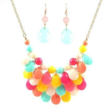 spring Teardrop promotion Water Drop Bib necklaces pendants multi-color bubble necklace earring jewelry