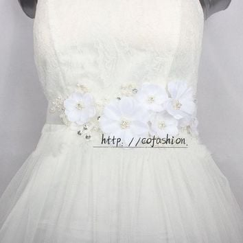White Flower Bridal Lace Belts Handmade Pearl Elegant Dress Sash Wedding Belt Crystal Satin Ribbon