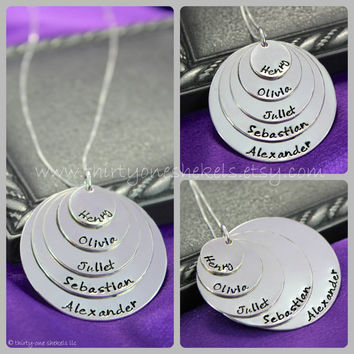 """Five Layer Hand-stamped Name Necklace in Sterling Silver 1/2"""", 3/4"""", 1"""", 1 1/4"""" and 1 1/2""""  - great for moms or grandmas"""
