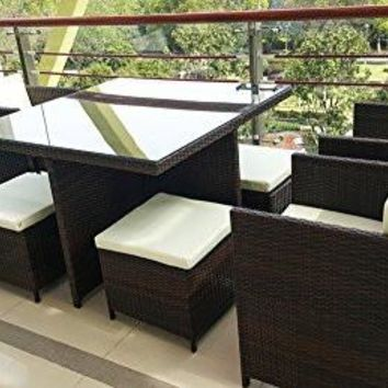Merax 9-piece Outdoor Cube Rattan Garden Furniture Set Wicker Rattan Desk and Chairs (Brown)
