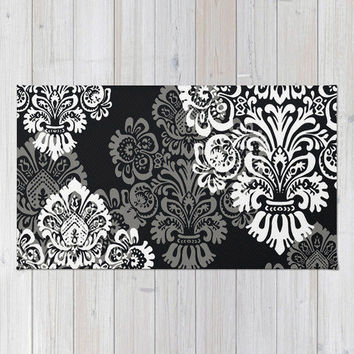 Bohemian Rug, Floor Rugs, Black Damask, Dark Tone, Neutral, Bold Romantic Bedroom Decor, Black + White Decor, Bohemian Decor, Boho Decor
