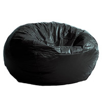 BeanSack Black Vinyl Bean Bag Chair | Overstock.com