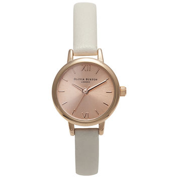 Buy Olivia Burton OB14MC021B Women's Wonderland Mini Leather Strap Watch, Rose Gold / Mink online at John Lewis
