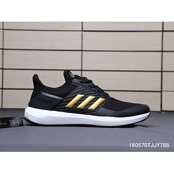 ADIDAS RAPIDA RUN 2018 new woven breathable casual sneakers F-A0-HXYDXPF Black +   Gold Line