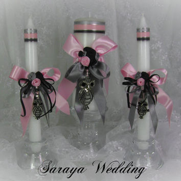 Wedding Unity Candles with an Owl Brooch, Pillar Candle, Taper Candles, Handmade Candles, Personalized Candles, Unity Candle Set