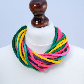 Short and thick twisted multi strand felt rope wool necklace [N30]