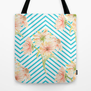 Flowers and Stripes Tote Bag by All Is One