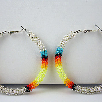 Silver Beaded Native American Peyote Stitch Hoop Earrings