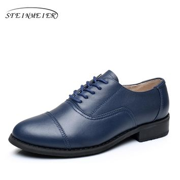 women flat leather oxford shoes woman handmade flat blue 2017 sping vintage British style oxfords shoes for women fur