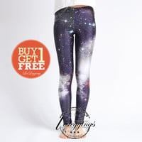 Galaxy Black leggings tights- Dark Clouds-Dancing Leggings-nebula-stars-DDK0016