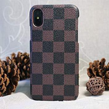 HeiL iPhoneXR TPU (Fast US Deliver Guarantee Fulfilled by Amazon) New Elegant Luxury PU Leather Checker Pattern Classic Style Cover Case for Apple iPhone XR (Brown TPU)