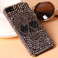 Cool Metal Skull Skeleton Grey Eye Bling Cases for Samsung Galaxy S8 S8 PLUS S7 S6 Edge Note 5 iPhone 7 6 6S Plus 5S 5 5c 4S 4