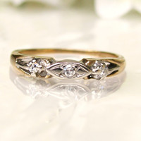 Sweet Vintage Diamond Wedding Ring 14K Two Tone Gold Art Deco Wedding Band Size 6.5!