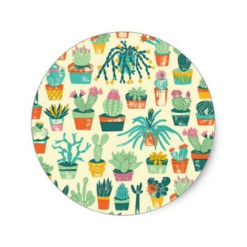 Colorful Cactus Flower Pattern Classic Round Sticker