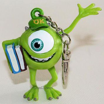 Licensed cool NEW Disney Store Monsters University Inc. 3D Plastic Clip on Keychain MIKE Books
