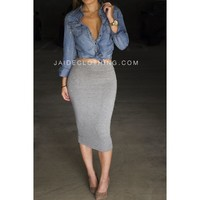 Heather Grey Jaide Exclusive Midi Pencil Skirt - Jaide Clothing