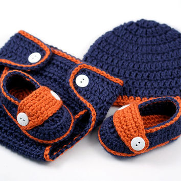 Detroit Tigers Baby Set // Hat, Diaper Cover & Loafers // Crochet Newborn Set // Blue and Orange