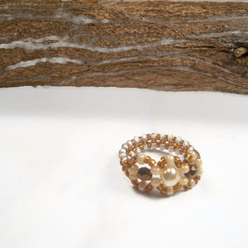 Brown Beaded Ring With White Pearl