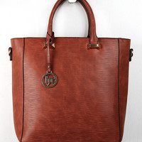 Striated Vegan Leather Tote Bag