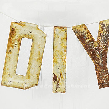 Antique Marquee Letters DIY, Rusty Vintage Marquee Metal Letter, Industrial Salvage