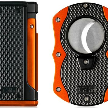 Colibri Monza Orange Triple Flame Lighter and Cigar Cutter Gift Set