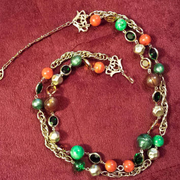 STUNNING 1950s Vintage Signed Kramer Double Strand Necklace, Multi-Color Glass Beads, Gold Tone