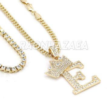 Iced Out Crown E Initial Pendant Necklace Set