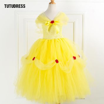 Beauty Beast Belle Princess Tutu Dress Kids Fancy Girl Party Dress Yellow Christmas Halloween Cosplay Dress Tulle Girl Costumes