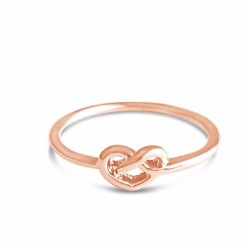 Rose Gold Tiny Wired Heart Ring