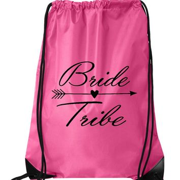 "Drawstring Gym Bag  ""Bride Tribe""  Funny Workout Squatting Gift"