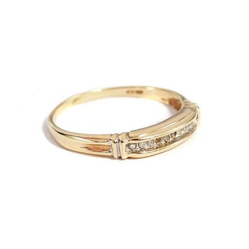 Antique 10K Gold Diamond Wedding Band Ring Art Deco Jewelry Size 9 Vintage 1930s Engagement Ring