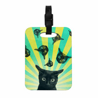 "Cvetelina Todorova ""Cat Explosion"" Yellow Green Decorative Luggage Tag"