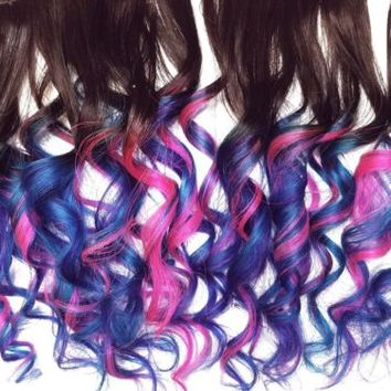 Full Set Pink Blue Aqua Teal Rainbow Human Hair Extensions Ombre Clip in Hair