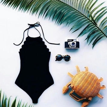 FASHION SCALLOPED ONE PIECE BIKINIS