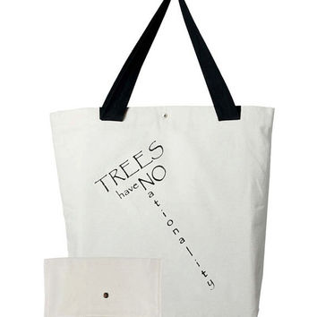 Trees Have No Nationality Hand Screen Printed Canvas Tote Bag Set, Canvas bag, Tote Bag, Bag and Pouch Set, All Purpose Bag, Fabric Bag