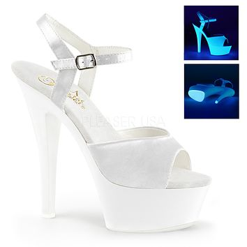 "Kiss 209UV White Ankle Strap - 6"" Platform Heel Shoe"