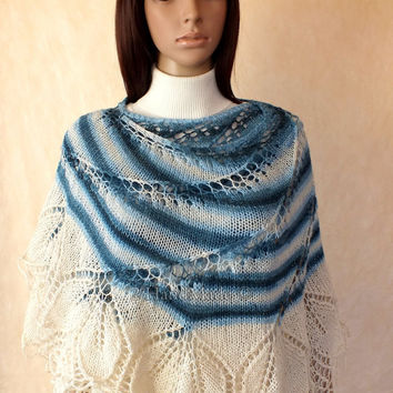 Handmade Lace Knit Round Ice Blue of White Merino Wool Shawl Wrap Fall Winter Fashion Woman Lady