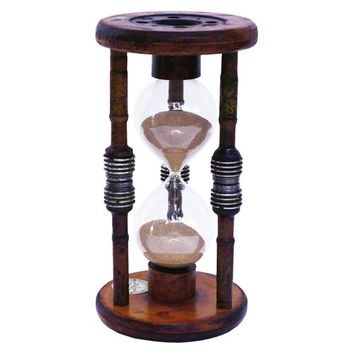 River City Cuckoo Clocks 1260BB 60 Minute Antique Wood Hourglass Sand Timer