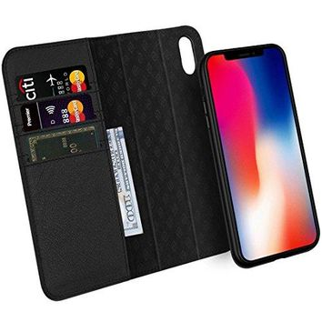 Zover iPhone X Case Detachable Genuine Leather Wallet Case With Auto Sleep/Wake Function Support Wireless Charging Magnetic Car Mount Holder Kickstand Feature Magnetic Closure Gift Box Black
