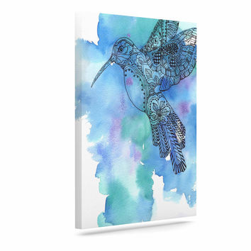 "Sonal Nathwani ""Hummingbird"" Blue Watercolor Canvas Art"