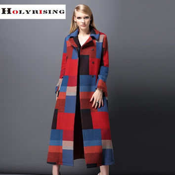 plaid fasion women long coat manteau femme winter jacket women abrigos mujer casaco feminino