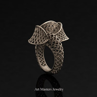 Yerevan - Cathartic Beauty 18K Rose Gold Modern Rococo Lace Ring R530-18KRG