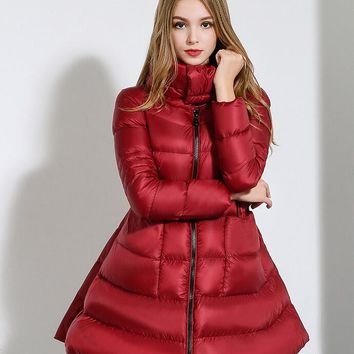 Winter Jacket Women Nice  Brand Down Coat Women  Fashion Outerwear Big Swing Down Parka Long Paragraph Down Jacket 51212