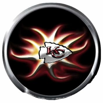 KC Kansas City Chiefs NFL Football Cool Burst Logo 18MM - 20MM Snap Jewelry Charm New Item